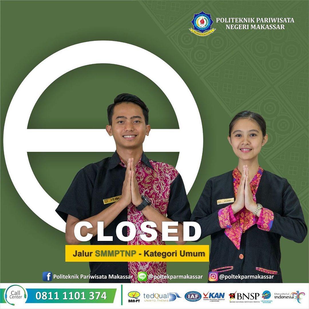Pendaftaran penerimaan mahasiswa baru melalui jalur SMMPTNP KATEGORI UMUM telah resmi ditutup